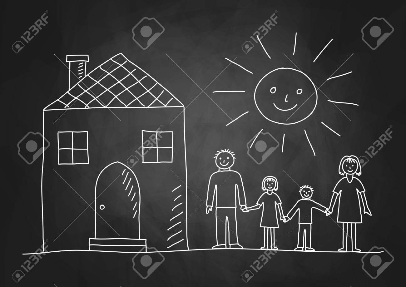 Drawing of family on blackboard - 19199167