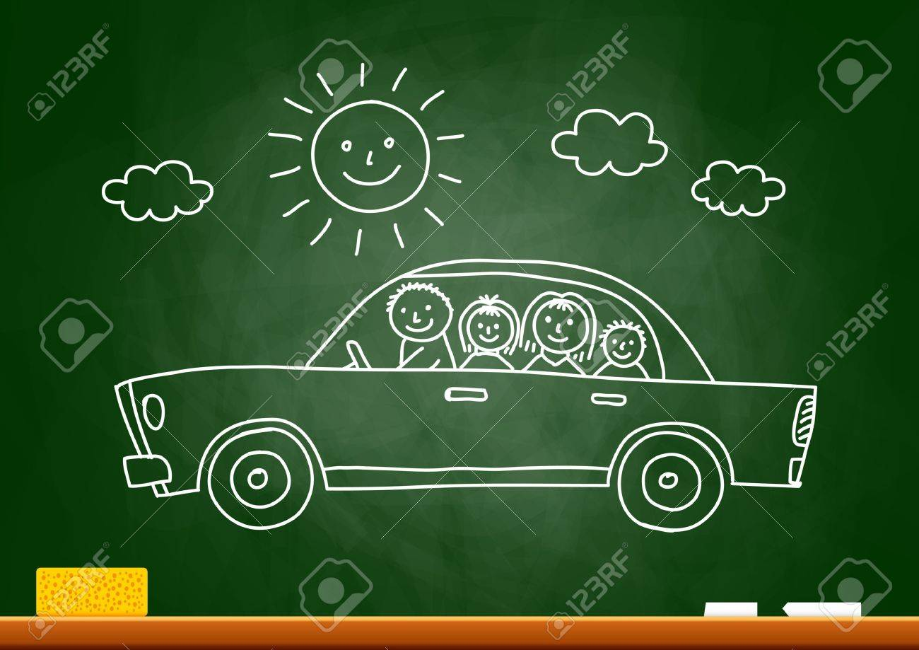 Car drawing on blackboard - 20014037