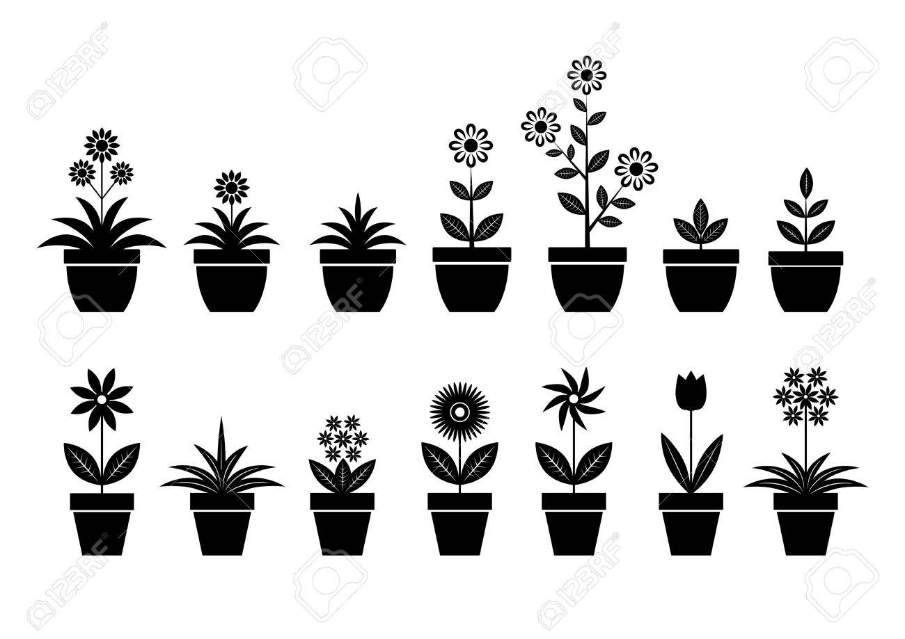 Flower icons on white background - 20915735