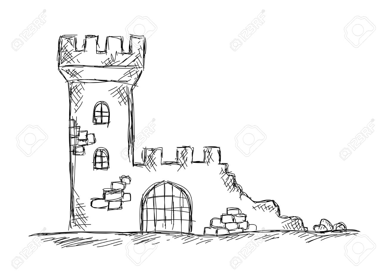 Drawing of castle ruins - 21434131
