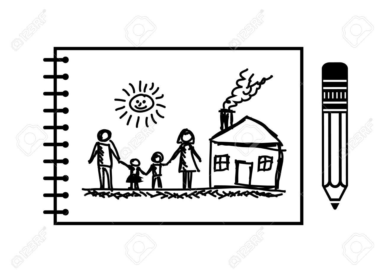 Drawing of family and house - 21774520