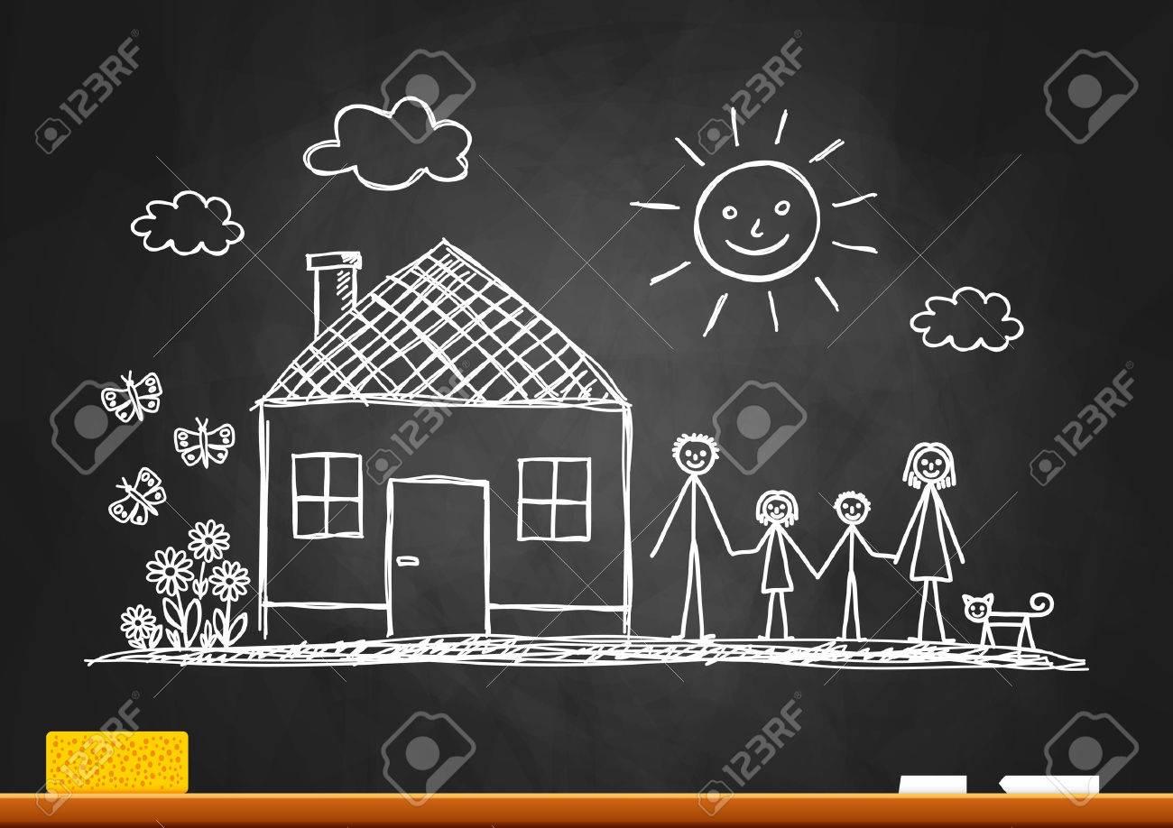 Sketch of family on blackboard - 23641620