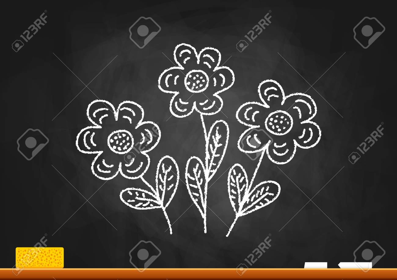 Drawing Of Flowers On Blackboard Royalty Free Cliparts, Vectors, And Stock  Illustration. Image 18081605.
