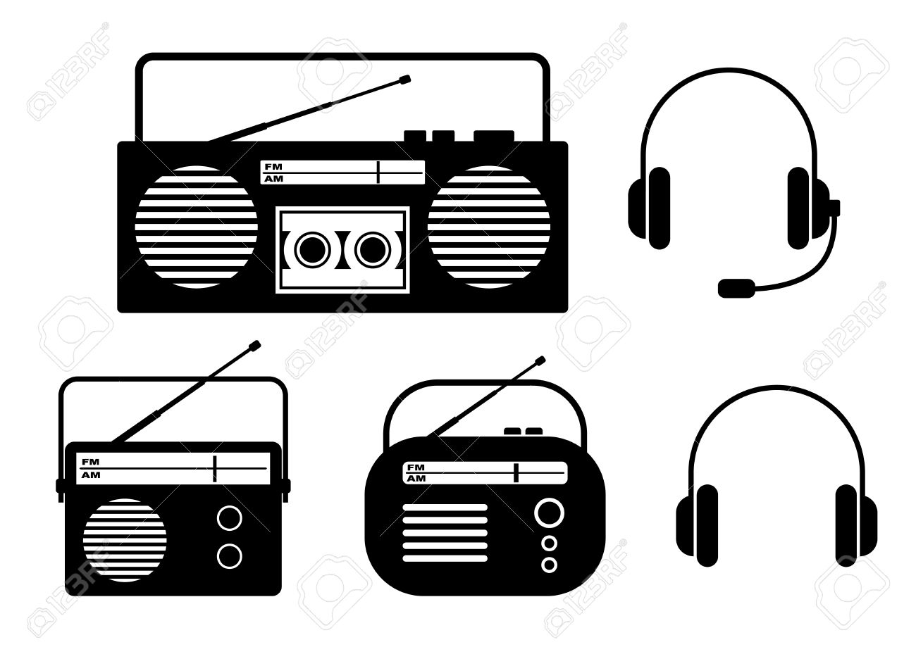 radio clipart black and white. radio icons on white background stock vector - 27327631 clipart black and