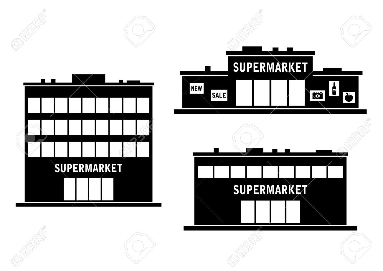Supermarket icon on white background - 27733672