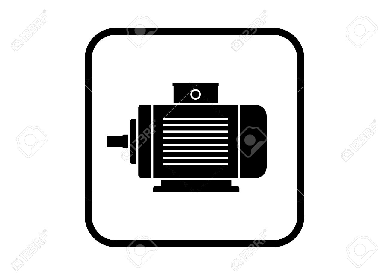 Electric Motor Icon On White Background Royalty Free Cliparts ...