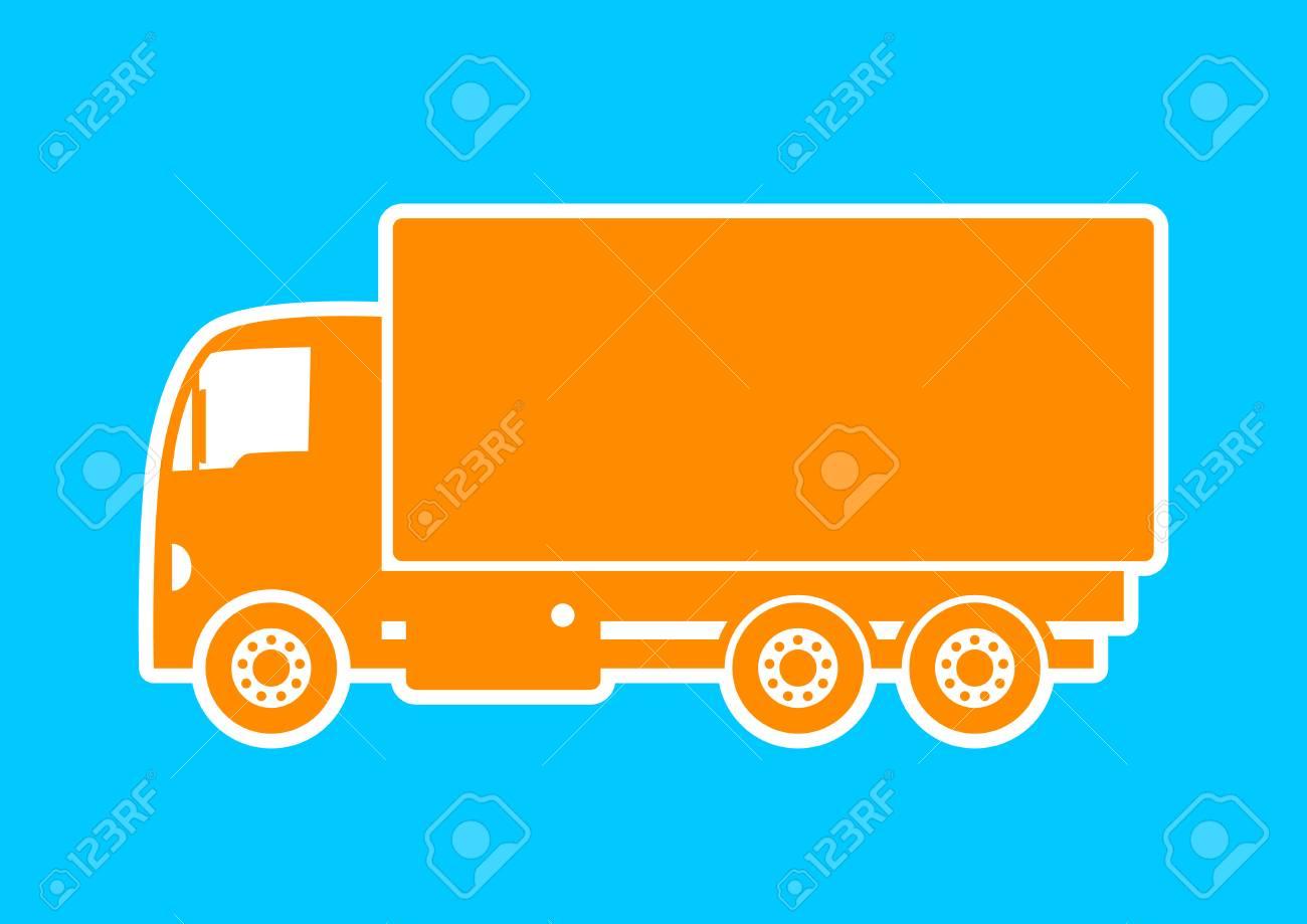 Orange Truck Icon On Blue Background