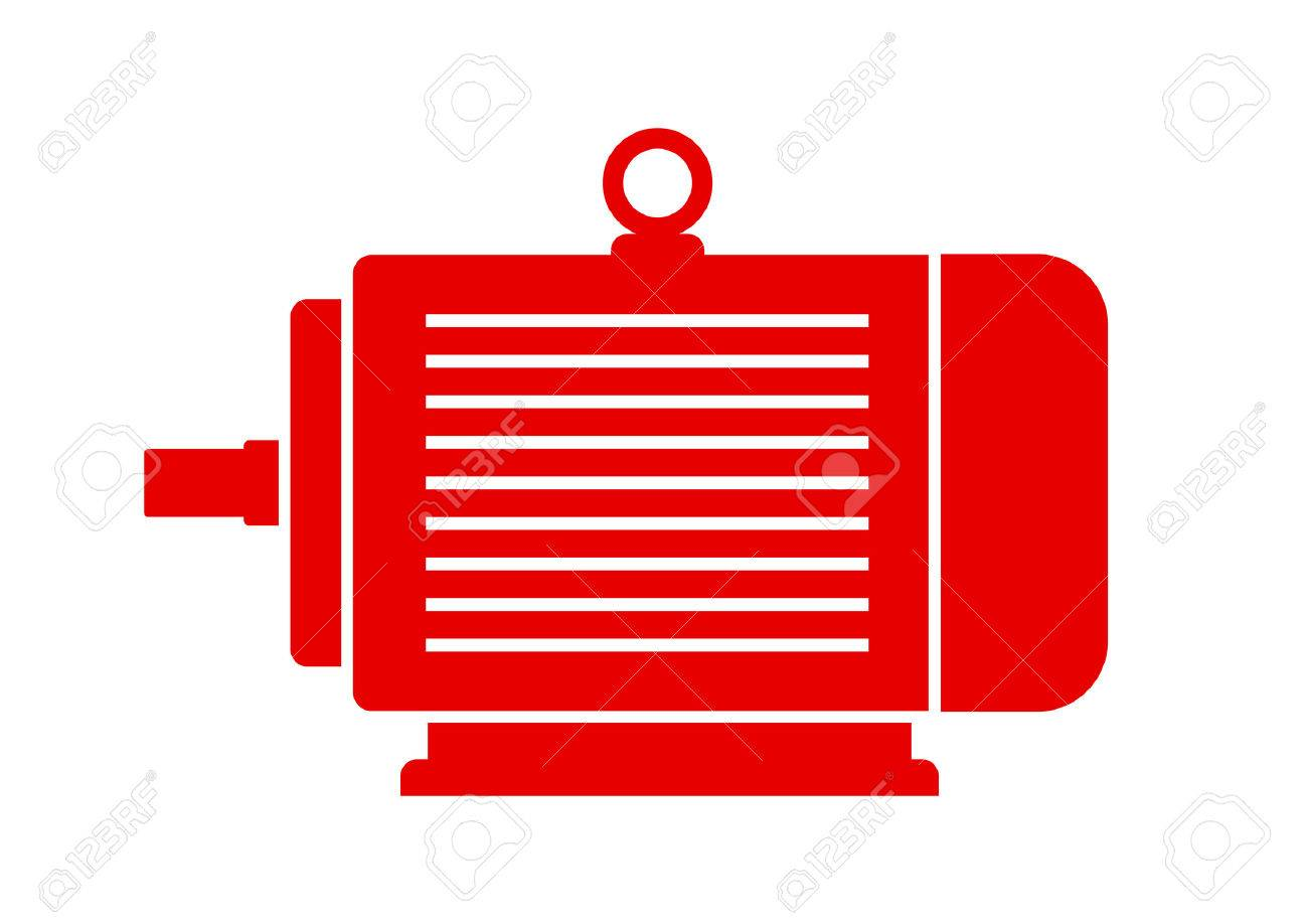 Red Electric Motor Icon On White Background Royalty Free Cliparts ... for Electric Motor Symbol  34eri