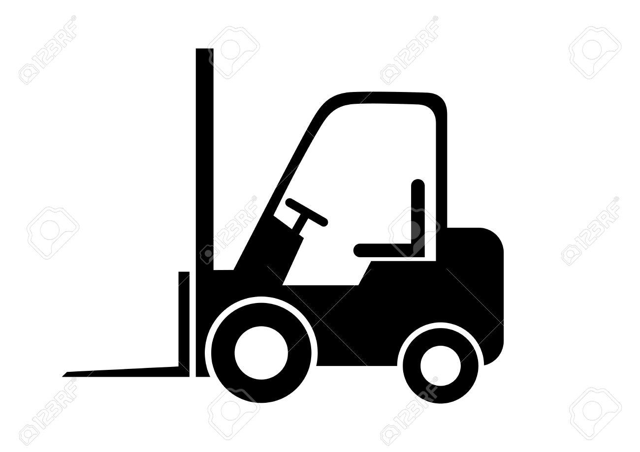 Black forklift truck on white background - 43249648