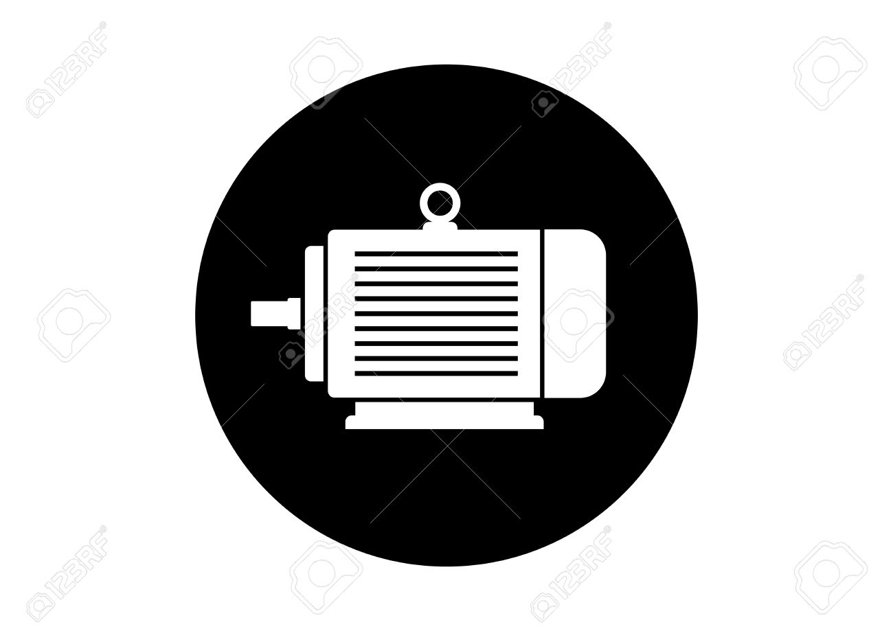 Black And White Electric Motor Icon On White Background Royalty Free ...