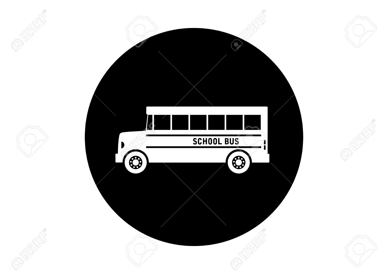 black and white school bus icon on white background royalty free