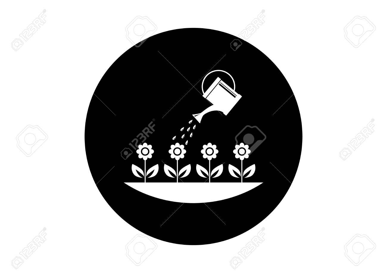 Black and white garden icon