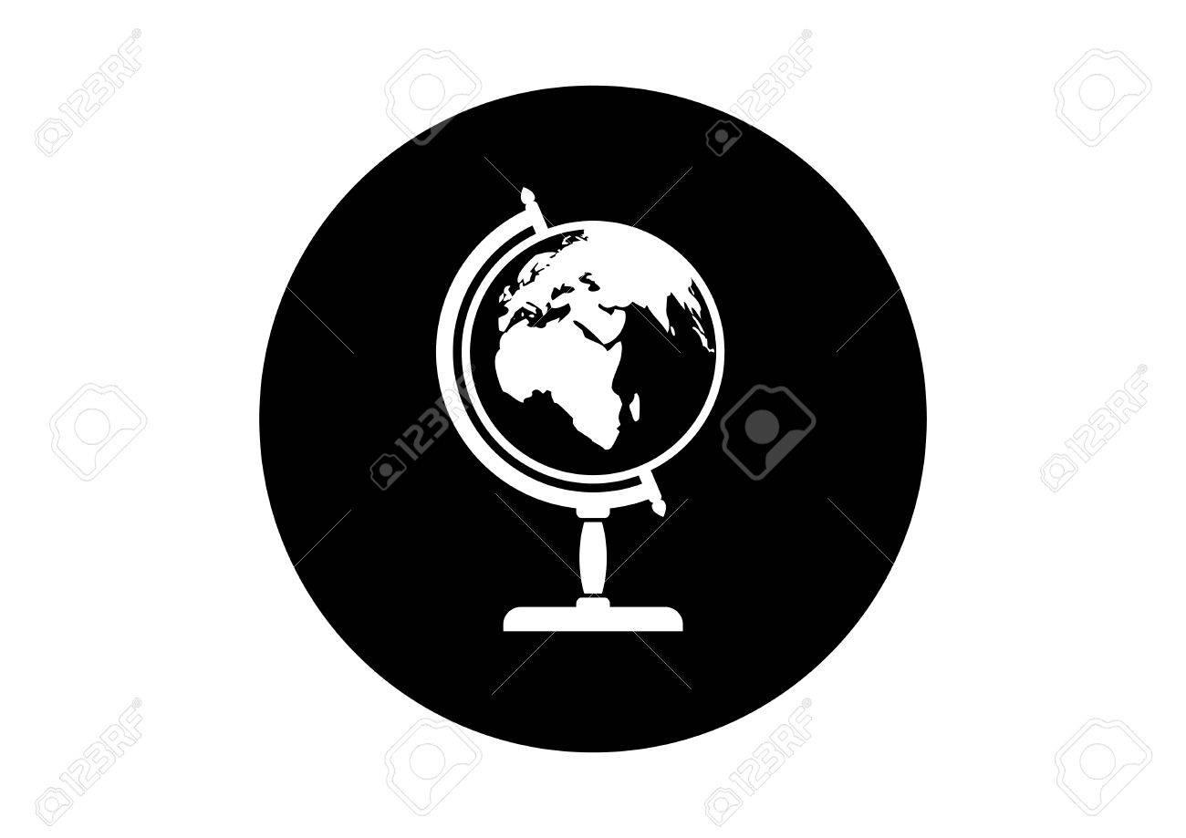 Black And White Globe Icon On White Background Stock Vector   44891853