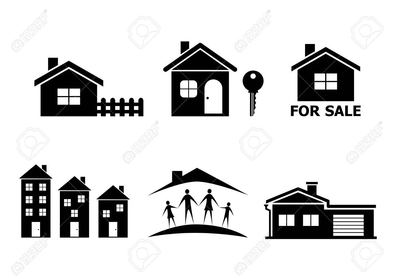 ae101516cae8 Black House Icons On White Background Royalty Free Cliparts, Vectors ...
