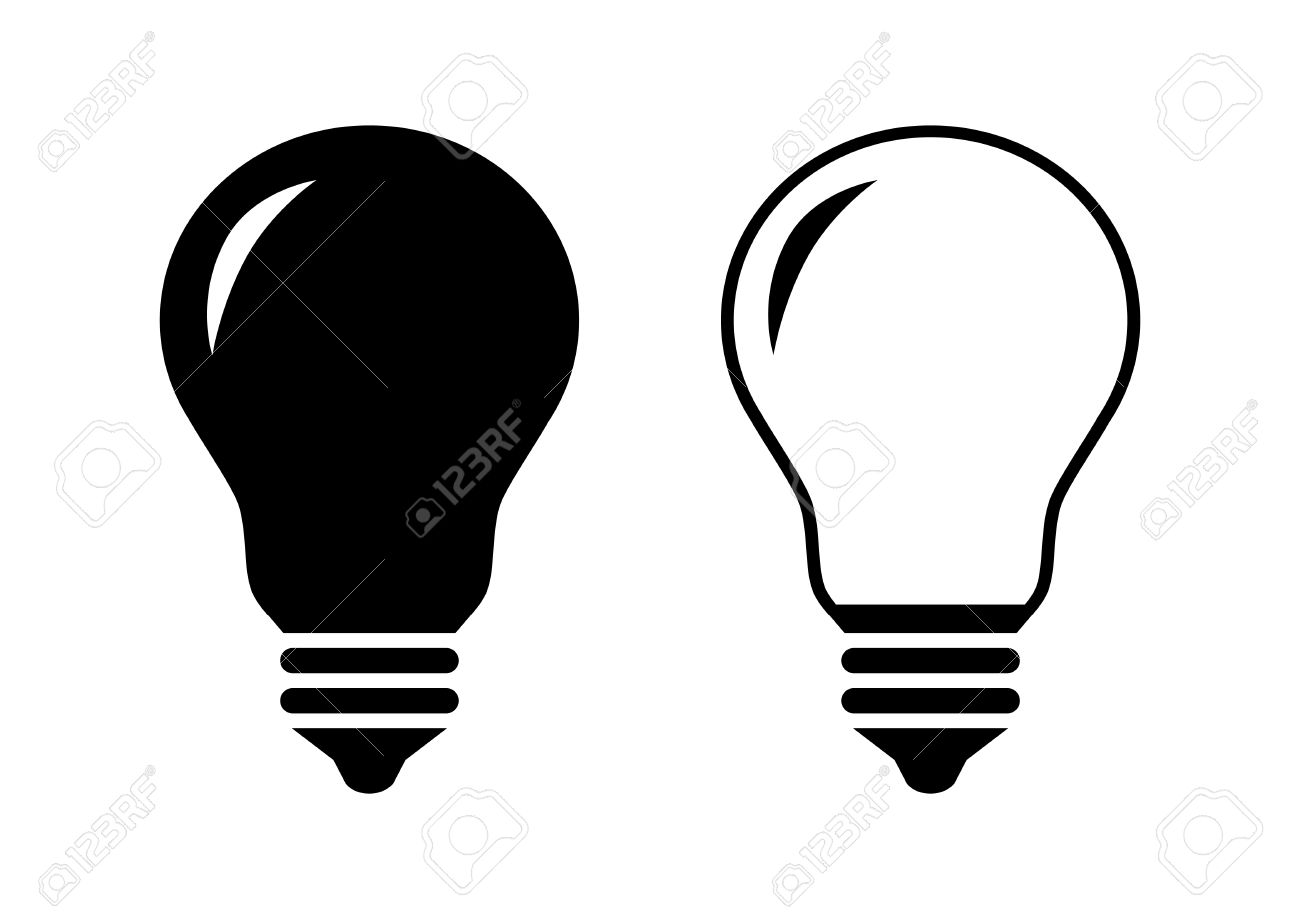 black lightbulb icons on white background royalty free cliparts