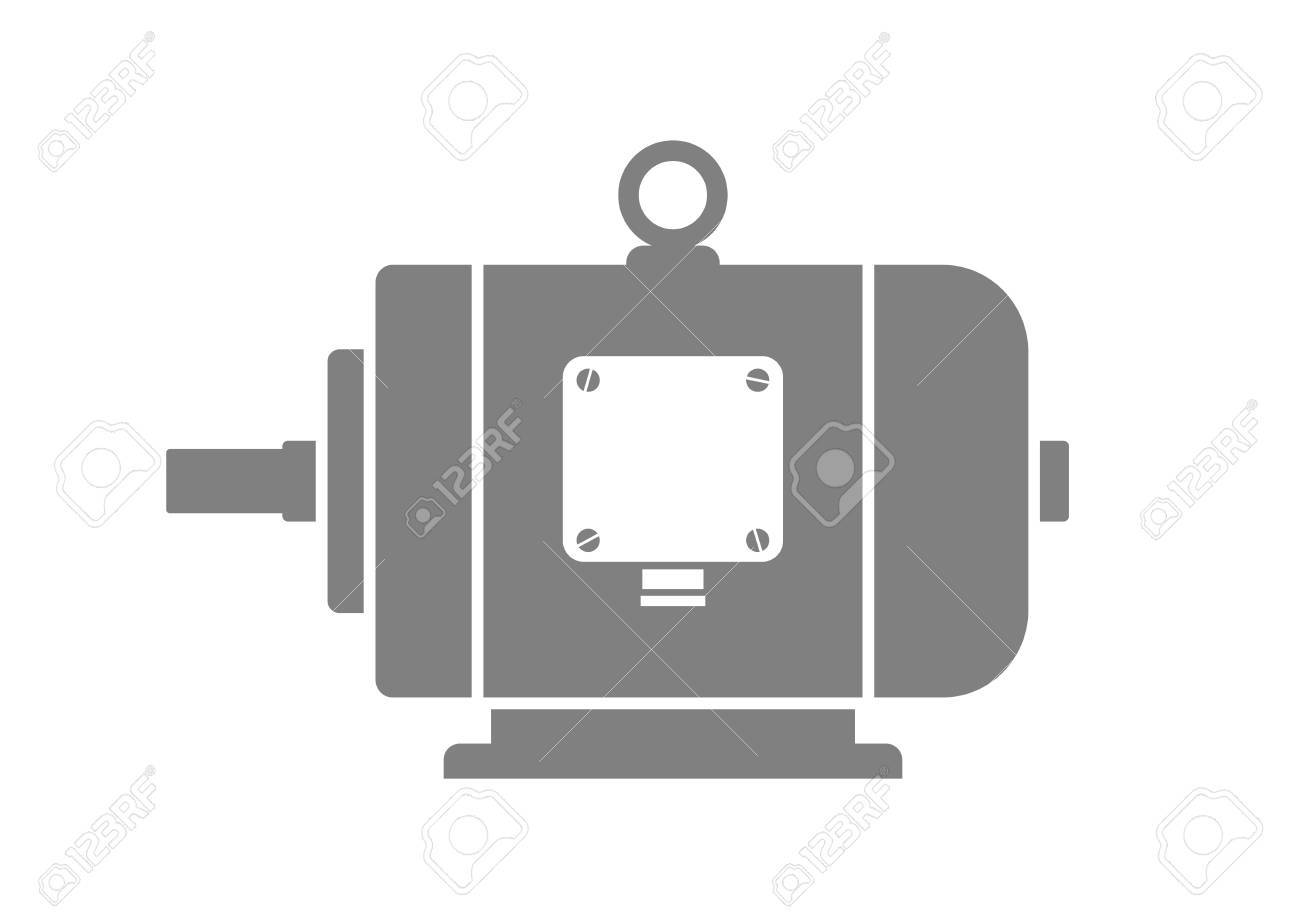 Grey electric motor on white background - 50016467
