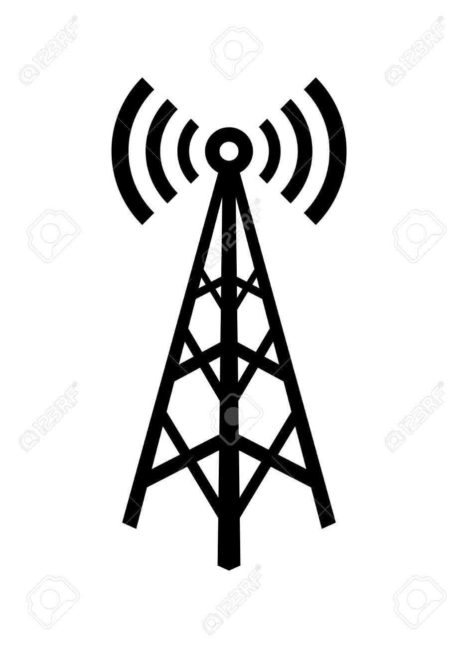Black transmitter icon on white background - 53929052