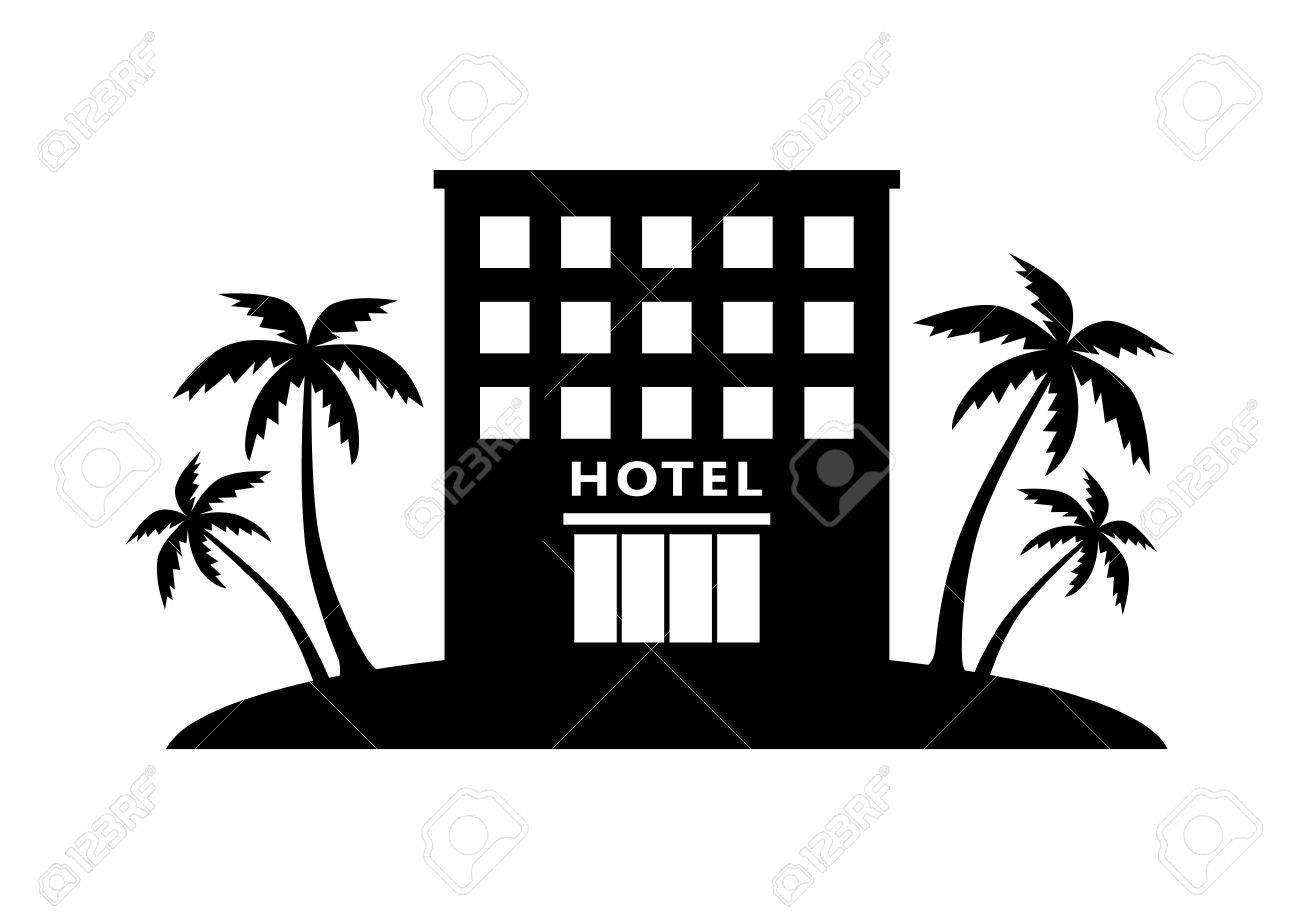 Black Hotel Icon On White Background Stock Vector
