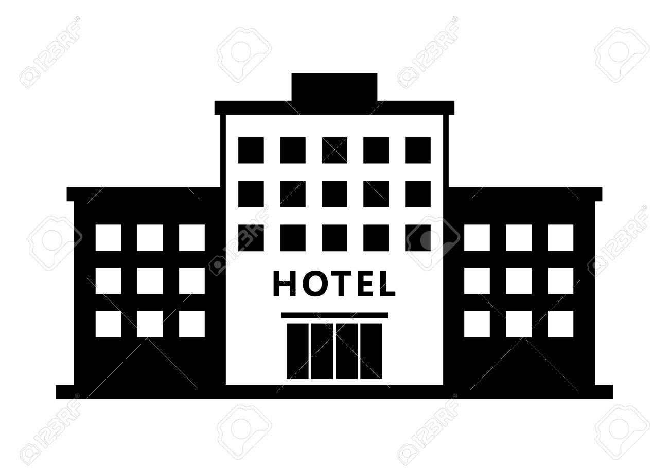 Hotel Vector Icon On White Background Stock