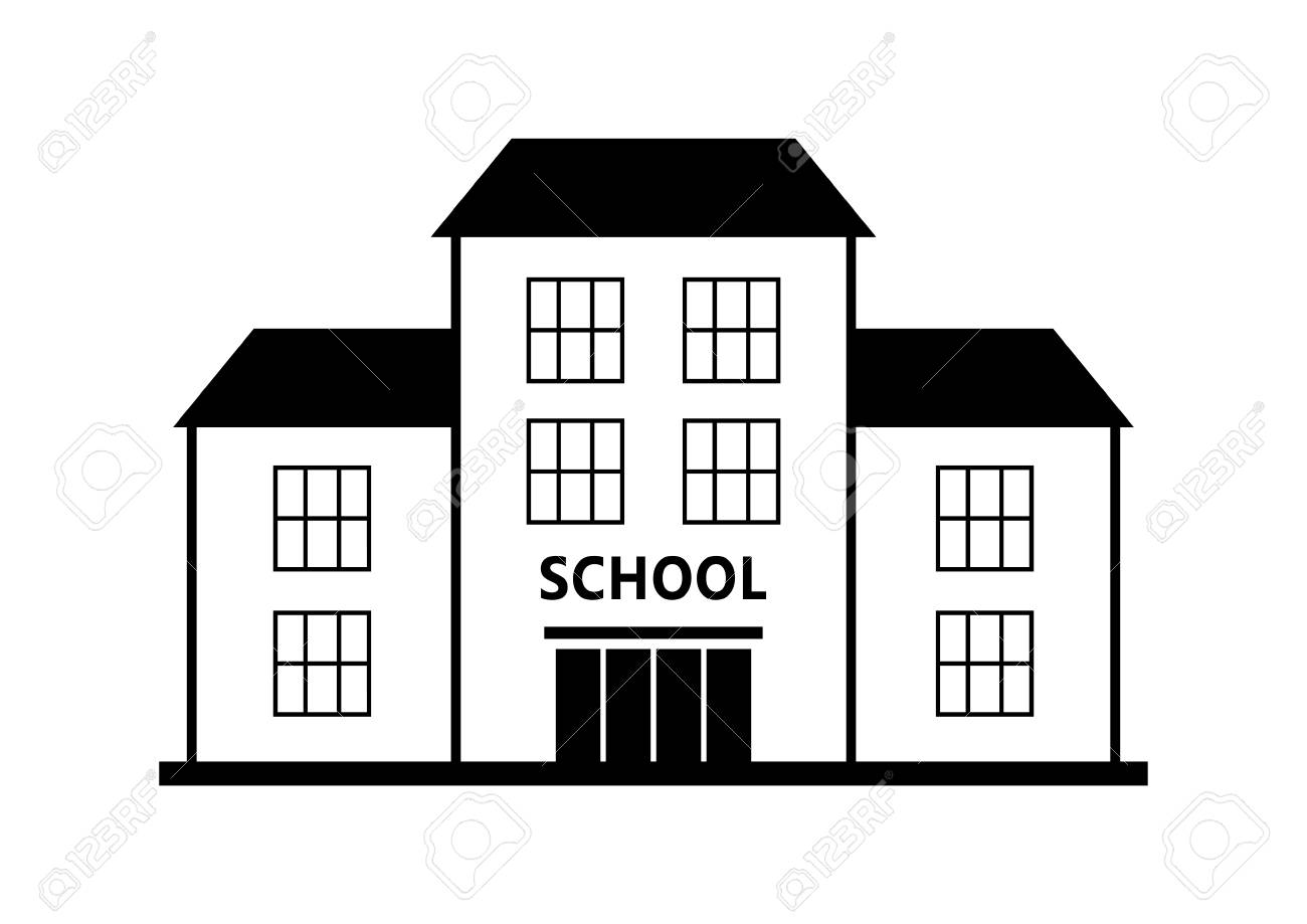 School vector pictogram, geïsoleerd gebouw op een witte achtergrond
