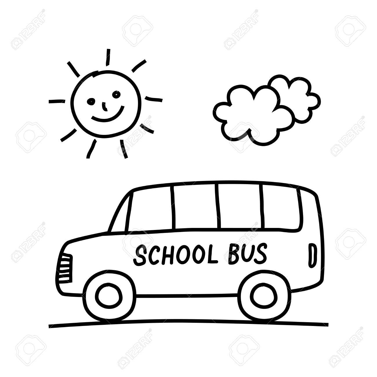 School Bus Drawing On White Background Royalty Free Cliparts