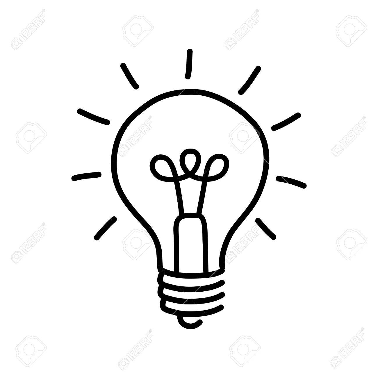 Black Lightbulb Drawing On White Background Stock Vector