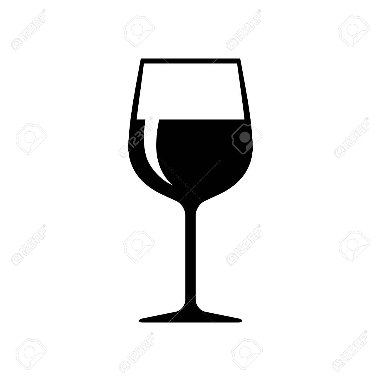 Icône de vecteur de verre à vin noir sur fond blanc