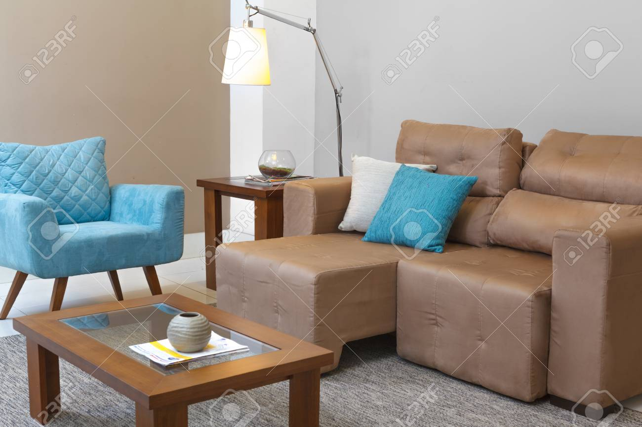 Living Room Gray Blue Brown Stock Photo Picture And Royalty Free Image 81177887