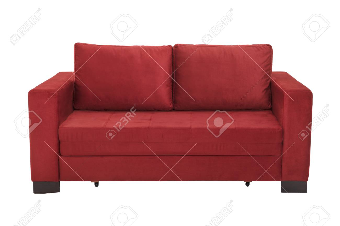 Modern Red Suede Couch Sofa Isolated On White Background Stock Photo ...