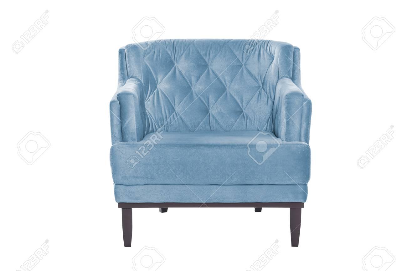 photo blue armchair modern designer chair on white background texture chair