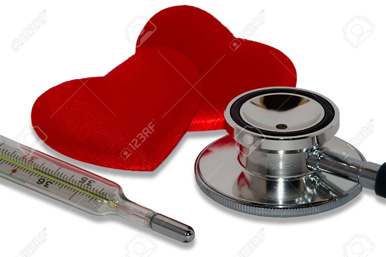 Medicine still life: stethoscope, clinical thermometer and two red hearts. Isolated over white background. Stock Photo - 4952511