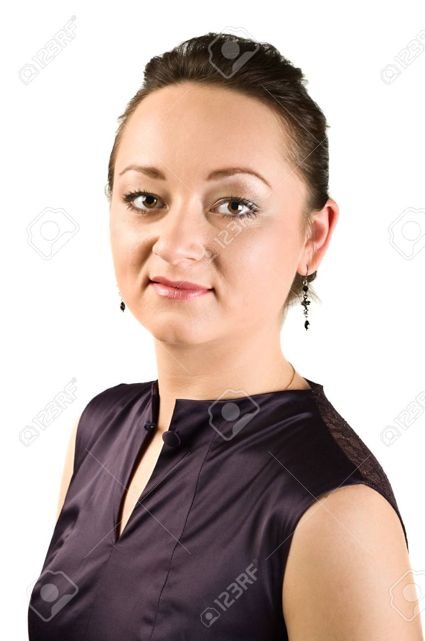 Young caucasian woman looking at the camera. Isolated over white background Stock Photo - 6135189