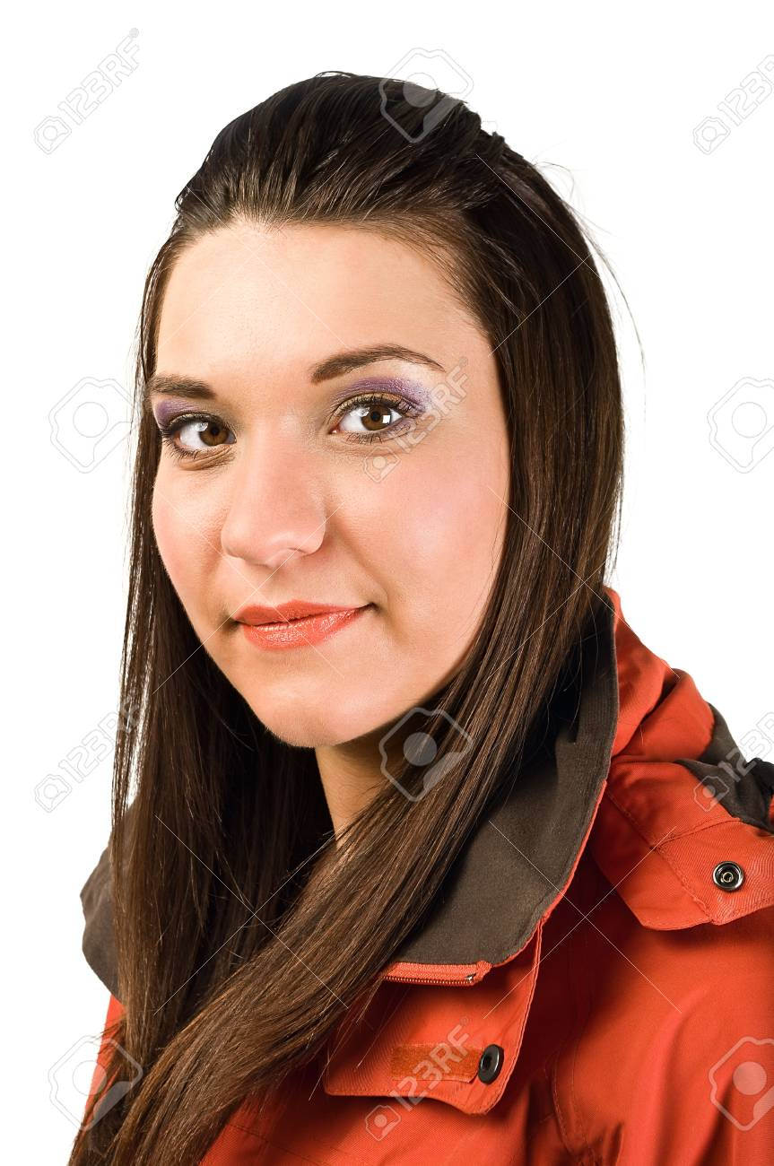 Young beautiful woman in red jacket looking on camera. Isolated over white background Stock Photo - 6229122