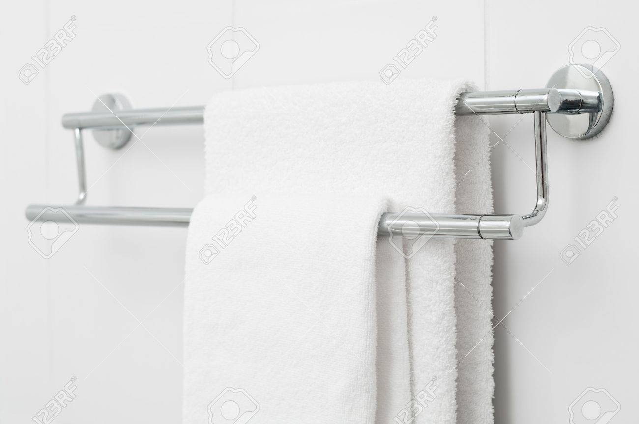 bath towels hanging. Interesting Towels Stock Photo  Two White Bath Towels Hanging On Tile Wall And Bath Towels Hanging