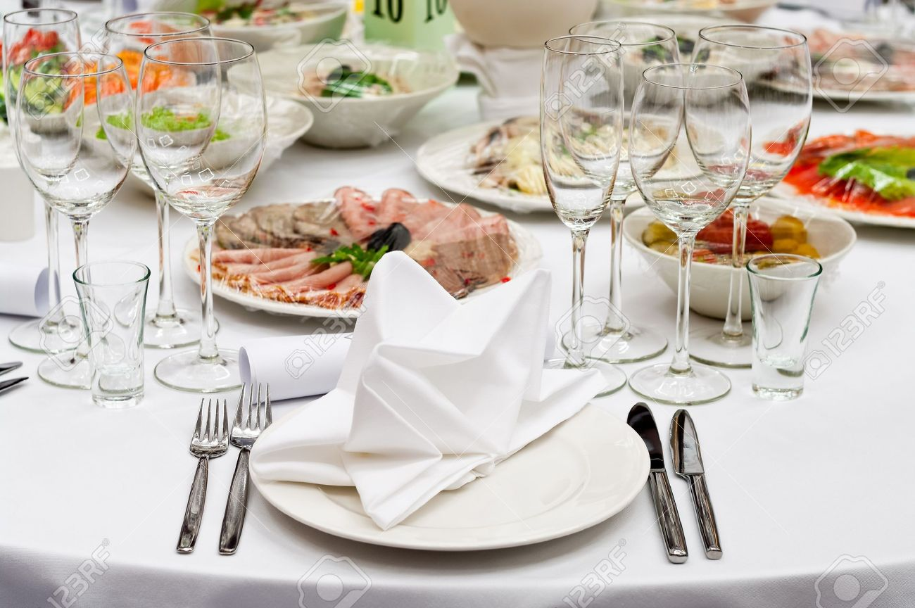 Formal Dinner Service As At A Wedding, Banquet Stock Photo ...