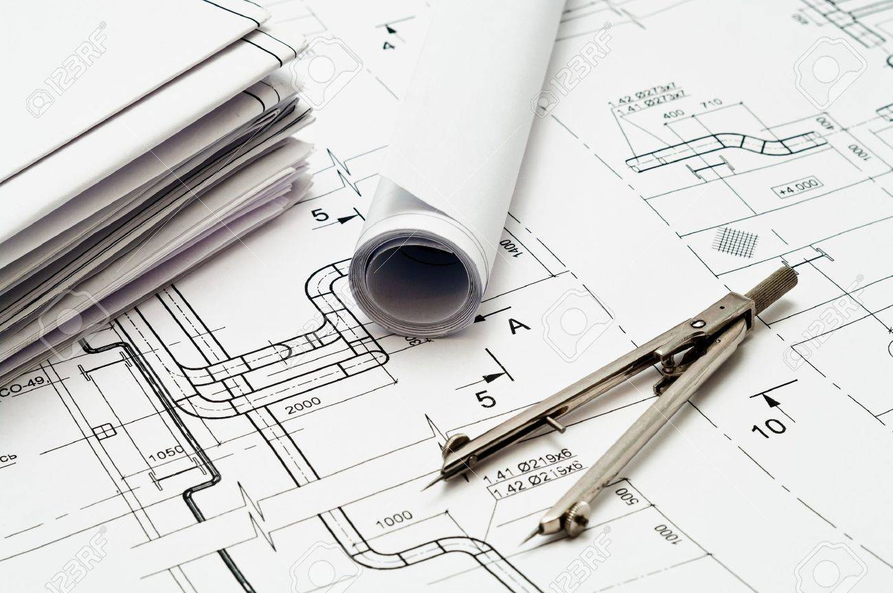 Design and working blueprints with compasses Stock Photo - 9250138