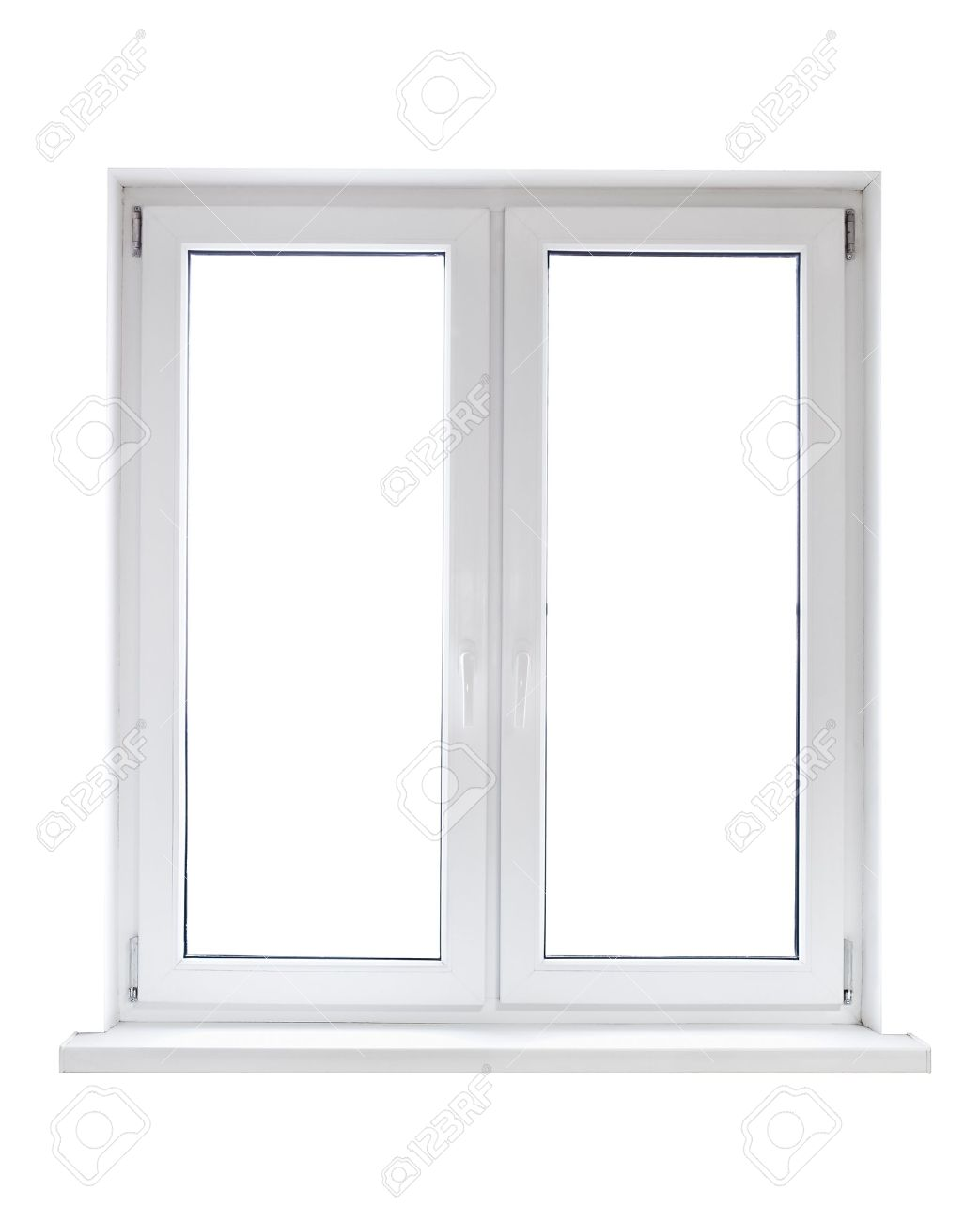 White Plastic Double Door Window Isolated On White Background Stock ...