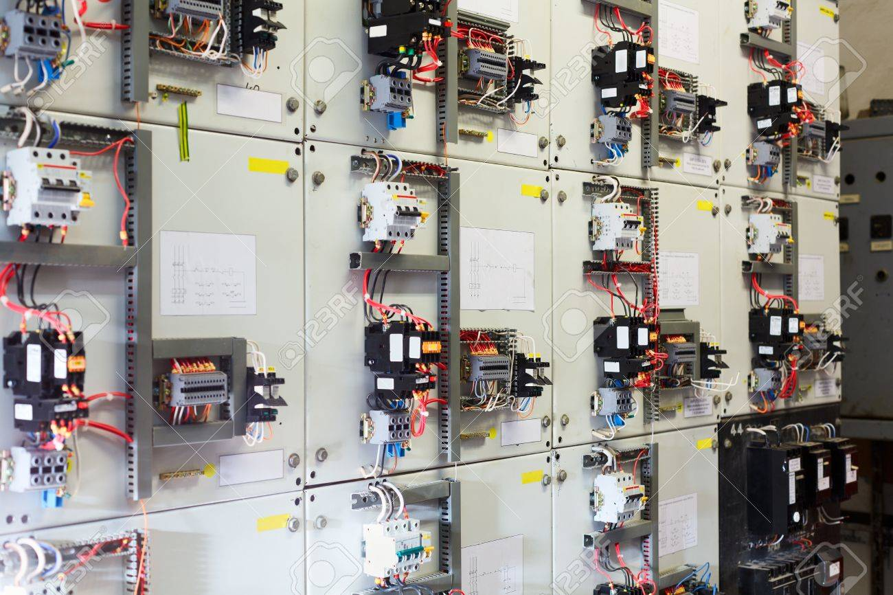 Electric Service Panel With Many Switches Automatons And Breakers ...