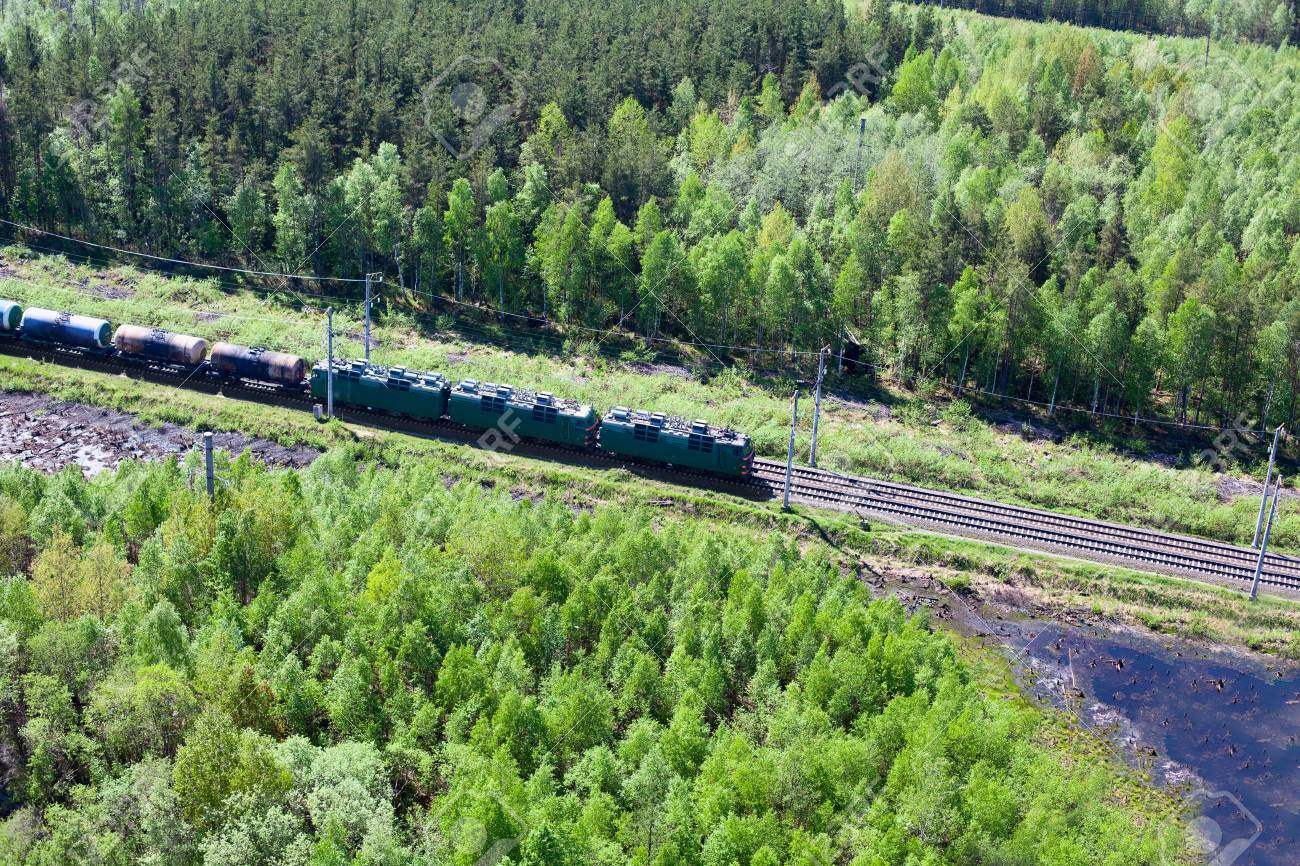 Freght train on railway in the middle of evergreen forests Stock Photo - 11754250
