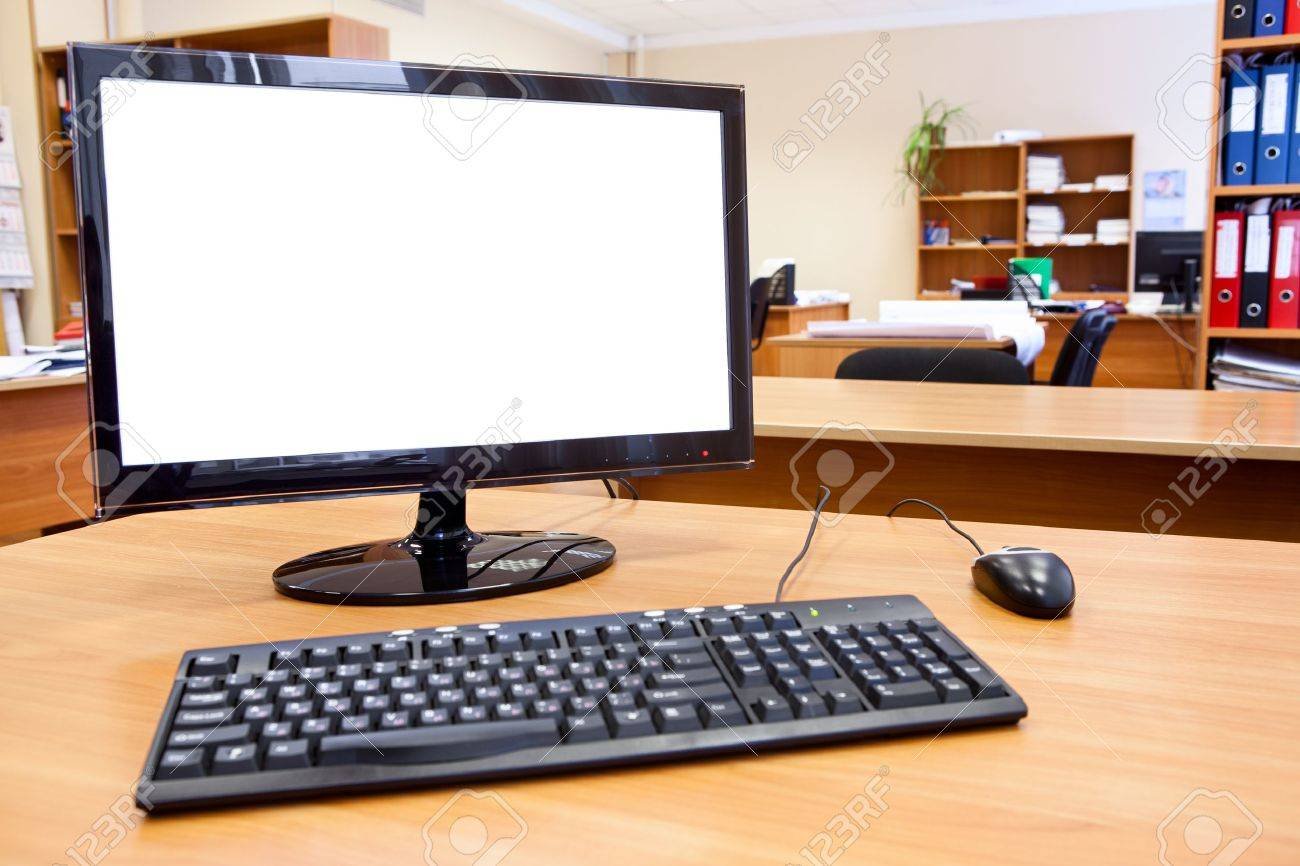Modern Personal Computer On Desktop In Office Room Stock Photo ...