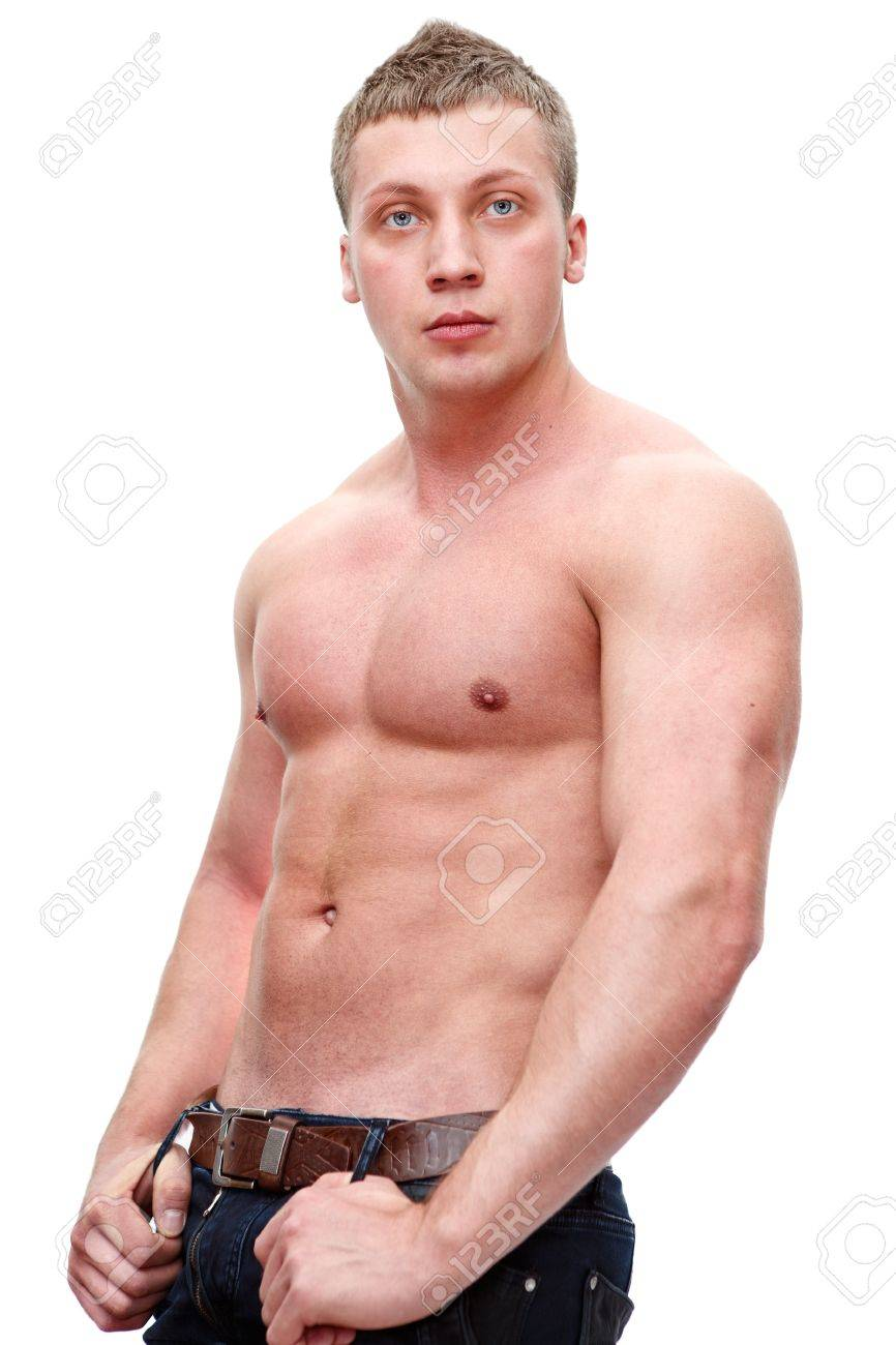 One handsome Caucasian muscular man with naked torso isolated on white background Stock Photo - 12912491