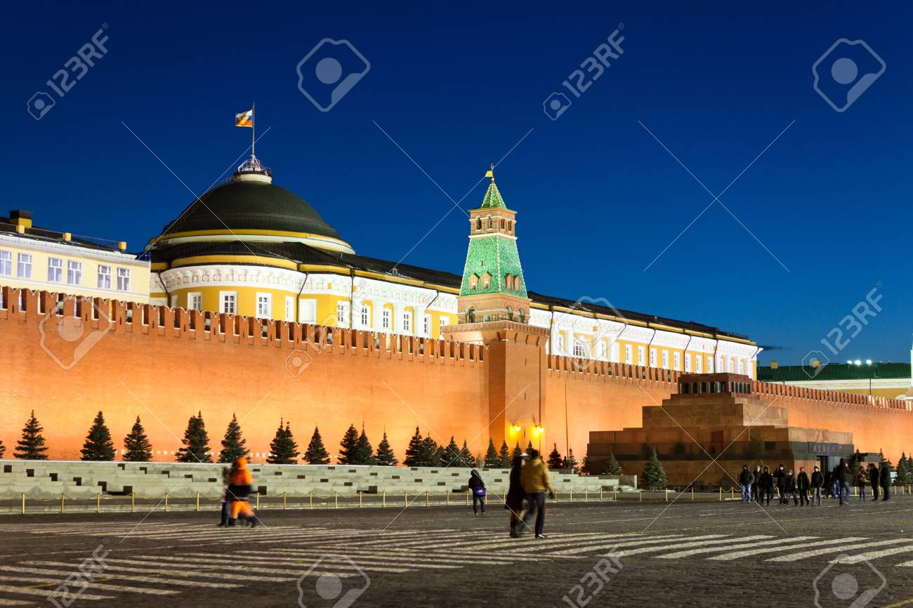 MOSCOW, RUSSIA - MARCH 27:  Wall of Spasskaya Tower and mausoleum of Moscow Kremlin at Red Square in night, on March 27, 2012 in Moscow, Russia. Stock Photo - 13021487