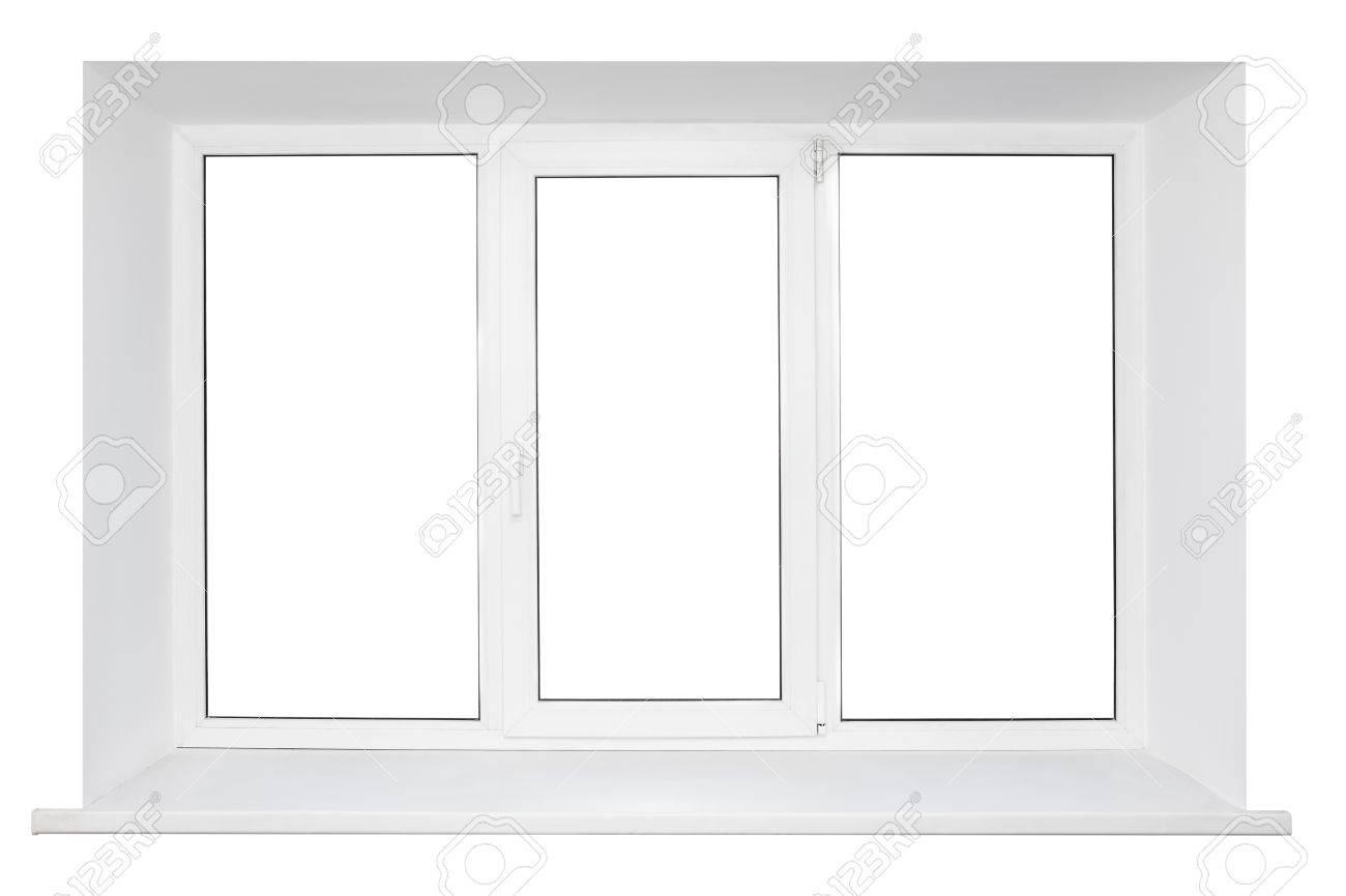White plastic triple door window isolated on white background Stock Photo - 13143296