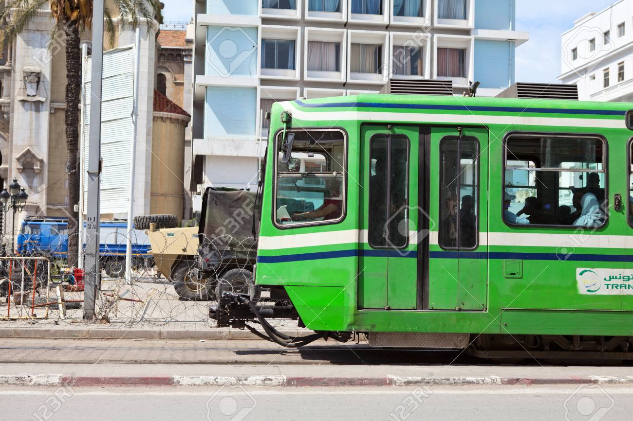 TUNIS, TUNISIA - CIRCA MAY, 2012: City tramway in the streets, on circa May, 2012 in Tunis, Tunisia. Stock Photo - 14998472