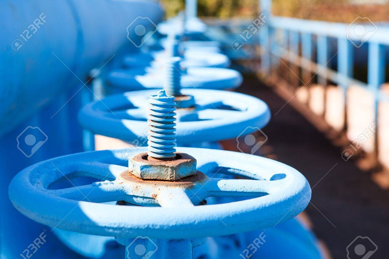 Close up of line from blue vents of oxigen gate valves Stock Photo - 15493597