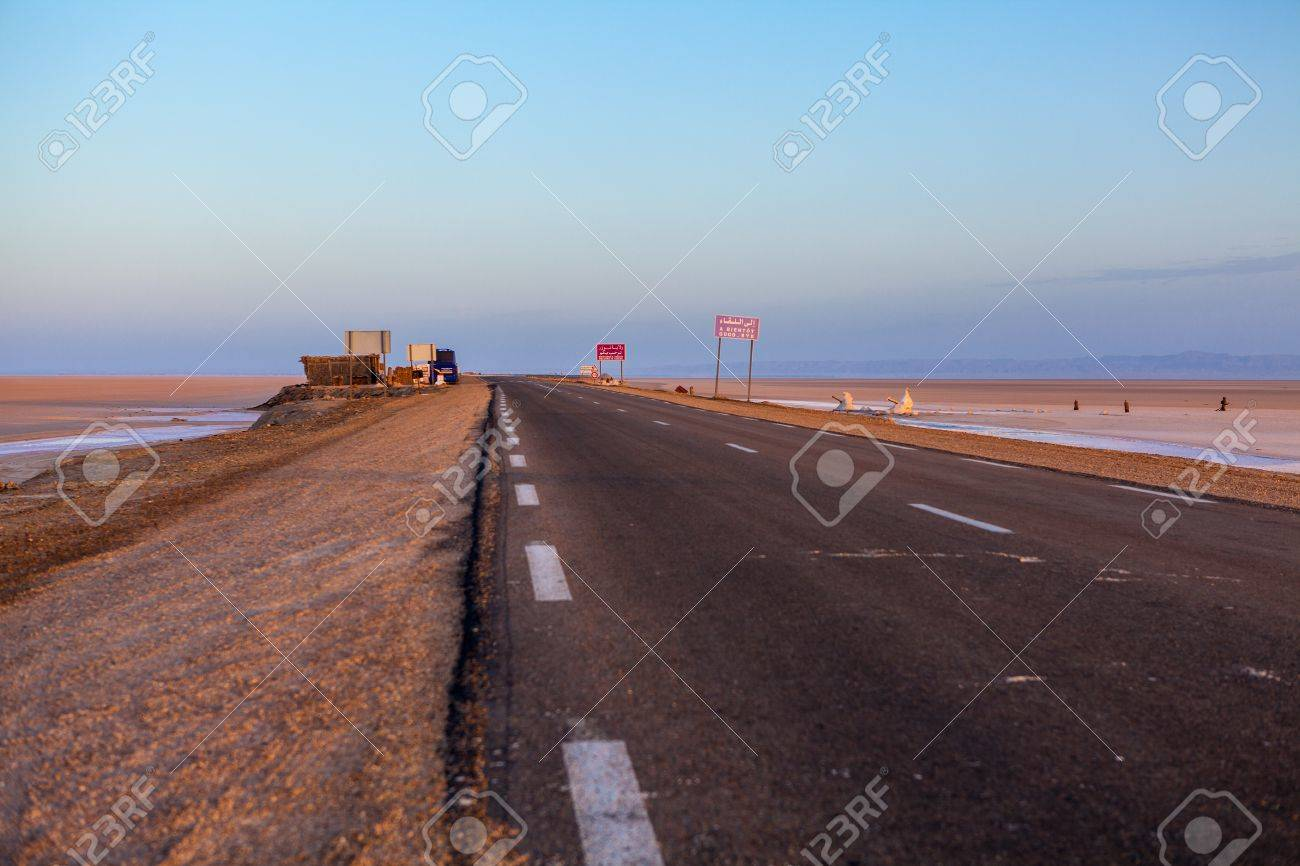 Empty road in sunset early morning in Tunisia Stock Photo - 16797633