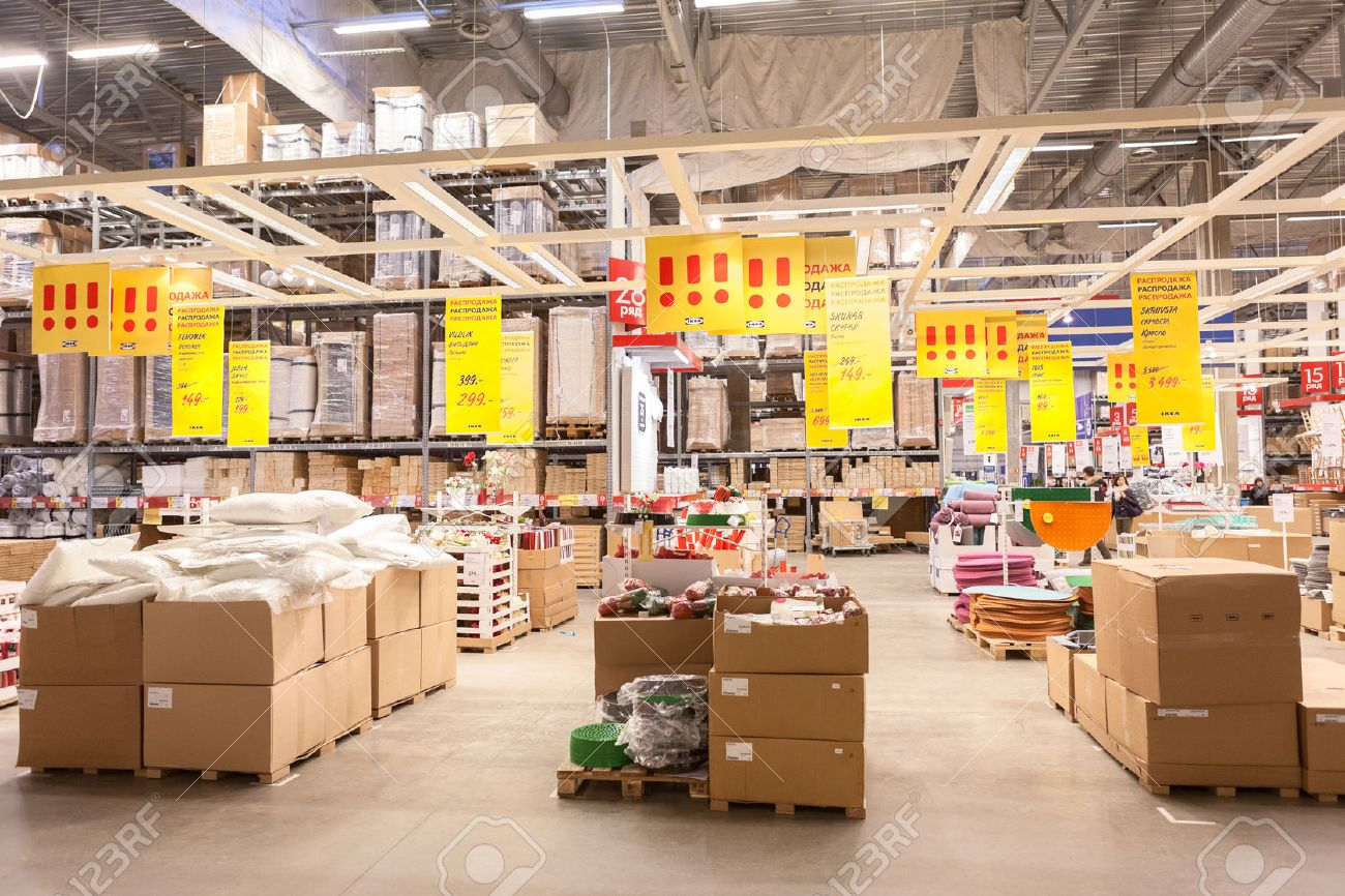 SAINT PETERSBURG, RUSSIA   CIRCA JANUARY: Commerce Warehouse Hall In Ikea  Store.