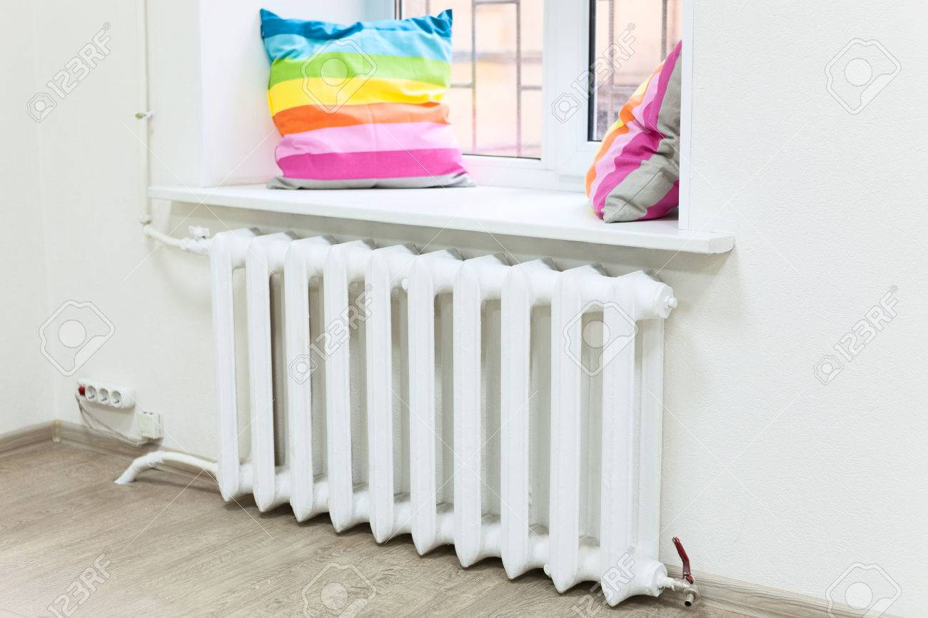 Domestic Room Interior With Central Heating Radiator Under Window Stock Photo Picture And Royalty Free Image Image 32869090