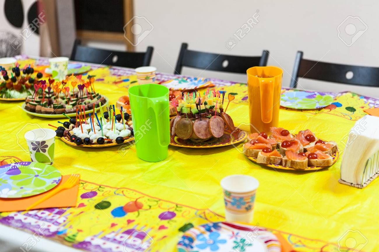 holiday table with snacks children birthday or party celebration