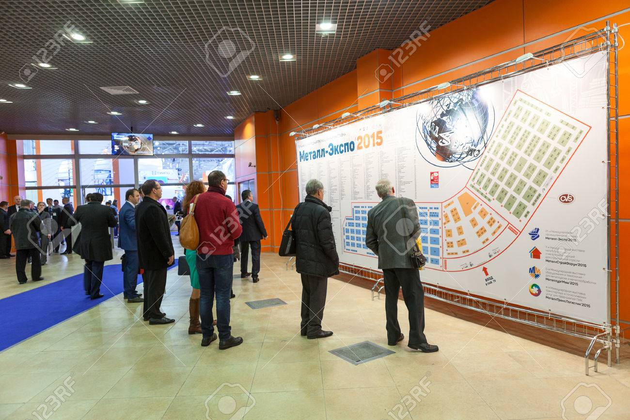 Exhibition Stand Location Map : Moscow russia circa nov visitors look at stand with
